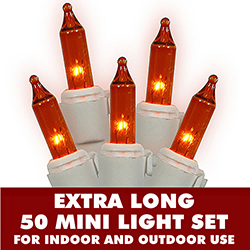 50 Mini Commercial Quality Amber String Light Set With Lamp Locks White Wire
