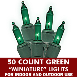 50 Green String Light Set 5.5 Inch Spacing Green Wire