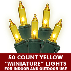 50 Mini Gold Extra Long String Light Set Green Wire