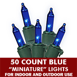 50 Mini Blue Extra Long String Light Set Green Wire