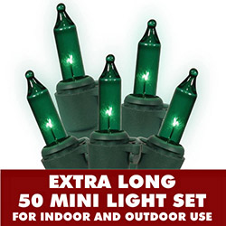50 Mini Commercial Quality Green String Light Set Lamp Locks Green Wire