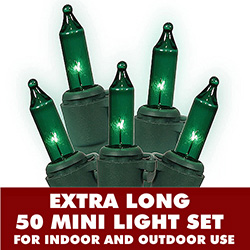 50 Mini Commercial Quality Green Dura Lit String Light Set Green Wire