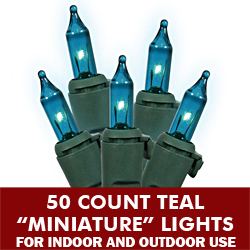 50 Mini Teal Extra Long String Light Set Green Wire