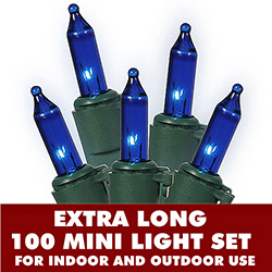 100 Mini Blue Extra Long String Light Set With Lamp Locks Green Wire