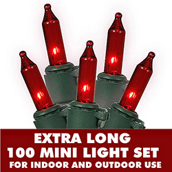 100 Mini Red Extra Long String Light Set With Lamp Locks Green Wire