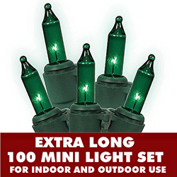 100 Mini Green Extra Long String Light Set With Lamp Locks Green Wire