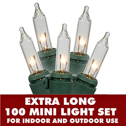 100 Mini Clear Extra Long String Light Set With Lamp Locks Green Wire