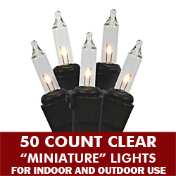 50 Mini Clear Extra Long String Light Set Black Wire