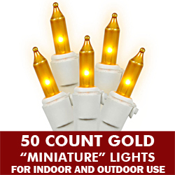 50 Gold Mini Incandescent String Light Set - White Wire