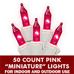 50 Pink Mini Incandescent String Light Set White Wire 5.5 Inch Spacing