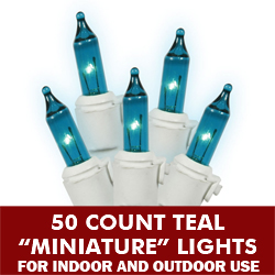 50 Mini Teal Extra Long String Light Set White Wire