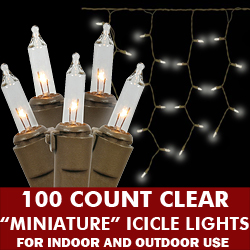 100 Clear Icicle Light Set Brown Wire