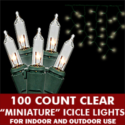 100 Light Clear Icicle Set Green Wire