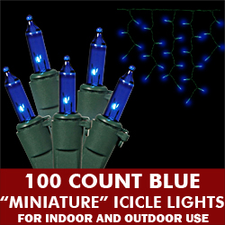 100 Blue Icicle Light Set Green Wire