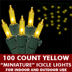 100 Light Yellow Icicle Set Green Wire