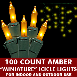 100 Light Amber Icicle Set Green Wire