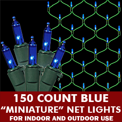 150 Blue Lights 4 Foot x 6 Foot Net Green Wire