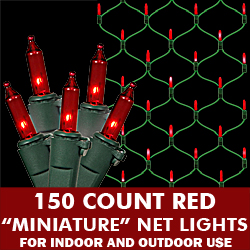 150 Red Mini Incandescent String Net Light Set Green Wire