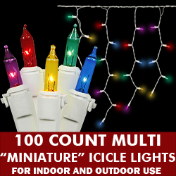 100 Multi Icicle Light Set White Wire