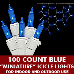 100 Light Blue Icicle Set White Wire