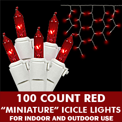 100 Light Red Icicle Set White Wire