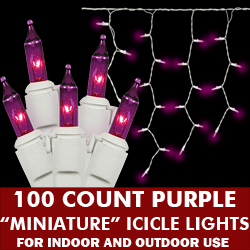 100 Light Purple Icicle Set White Wire