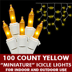 100 Light Yellow Icicle Set White Wire