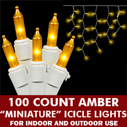 100 Amber Icicle Light Set White Wire