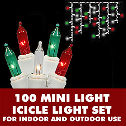 100 Red Green And Clear Icicle Light Set White Wire