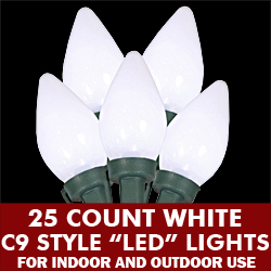 25 Light LED C9 White Ceramic Green Wire