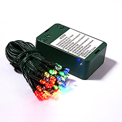 35 Battery Operated LED 5MM Multi Lights Green Wire 5 Inch Spacing