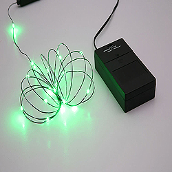 24 Battery Operated LED 5MM Green String Light Set With Timer 4 Inch Spacing