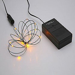 24 Battery Operated LED 5MM Yellow String Light Set With Timer 4 Inch Spacing