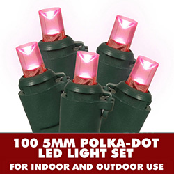 100 Pink LED 5MM Polka Dot Lights Green Wire