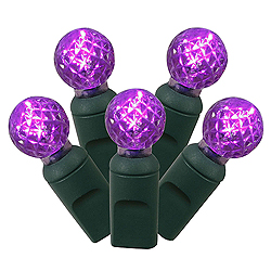 100 Commercial Grade LED G12 Faceted Globe Purple Halloween Light Set Green Wire