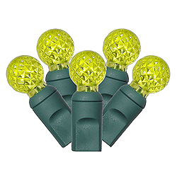 100 Commercial Grade LED G12 Faceted Globe Lime Green Halloween Light Set Green Wire