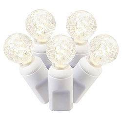100 Commercial Grade LED G12 Faceted Globe Warm White String Light Set White Wire Polybag