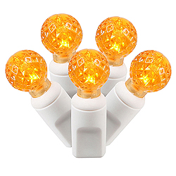 100 Commercial Grade LED G12 Faceted Globe Orange String Light Set White Wire