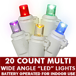 20 Light Battery Operated Wide Angle LED Multi White Wire