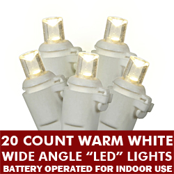 20 Battery Operated 5MM LED Warm White Lights White Wire
