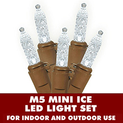 70 Pure White LED M5 Mini Ice Extra Long String Light Set Brown Wire