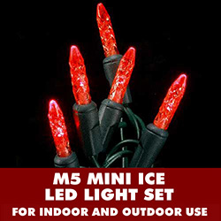 70 Red LED M5 Mini Ice Extra Long String Light Set Green Wire
