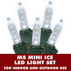 70 LED M5 Pure White Mini Ice Extra Long String Light Set Green Wire