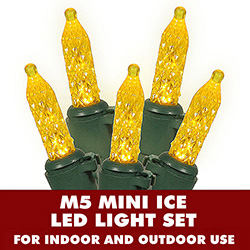 70 Gold LED M5 Mini Ice Extra Long String Light Set Green Wire