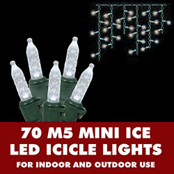 70 Warm White LED  M5 Mini Ice String Icicle Light Set Green Wire
