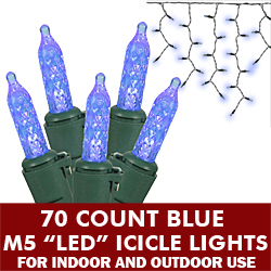 70 Commercial Grade LED M5 Italian Faceted Twinkle Blue Icicle Light Set Green Wire