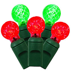 50 Commercial Grade LED G12 Red And Green String Light Set Green Wire
