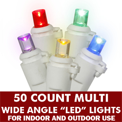 50 5MM LED Multi Extra Long String Lights - 6 Inch Spacing - White Wire