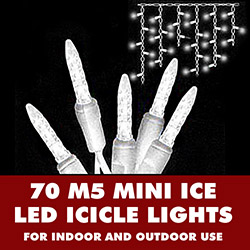 70 Commercial Grade LED M5 Italian Warm White Icicle Light Set 3.5 Inch Spacing White Wire