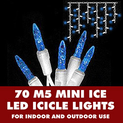 70 Blue LED M5 Mini Ice String Light Icicle Set White WireWhite Wire